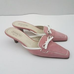 Coach Marielle Pink Fabric White Accent Mules 7.5